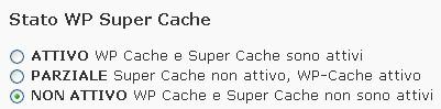 Attivazione della cache