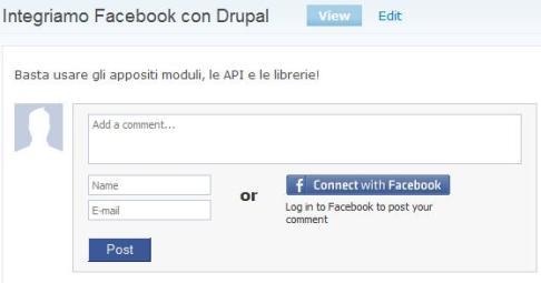Commentiamo con l'account Facebook
