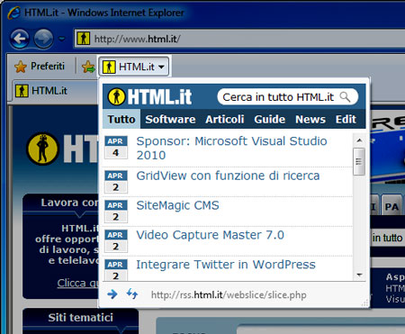 La Web Slice di HTML.it