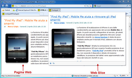 Una Web slice incorporata in una pagina Web