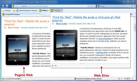 Una Web slice incorporata in una pagina Web