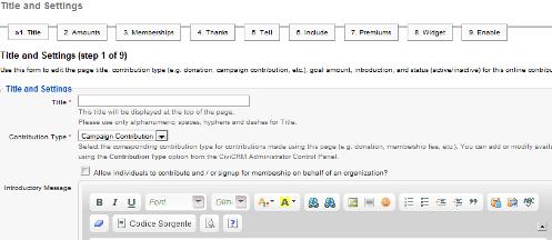 contribution page CiviCRM