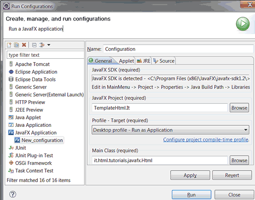 Configurare il tipo di applicazione
