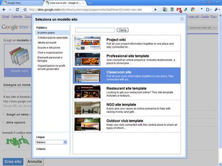 Google sites, la piattaforma di pubblicazione