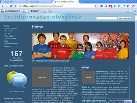 Google sites, un sito web di esempio