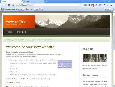 Kafafa, un sito web di esempio