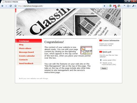 Moogo, un sito web di esempio