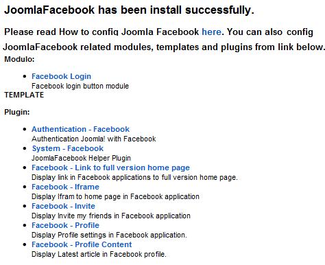 JoomlaFacebook installazione riuscita