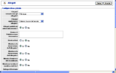 Configurazione Attachments for Articles Extension