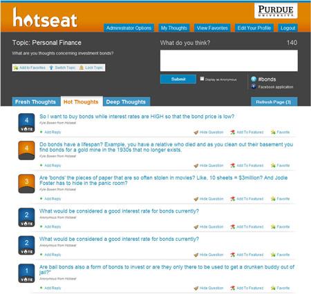 L'interfaccia del servizio Hotseat
