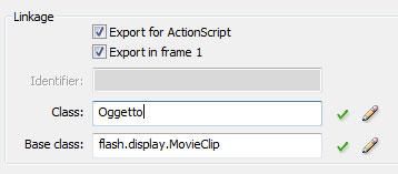 Impostazioni per l'esportazione dell'oggetto