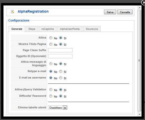 Alpha Registration configurazione