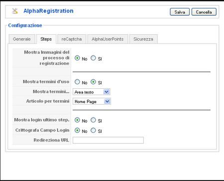 Alpha Registration passi per la registrazione