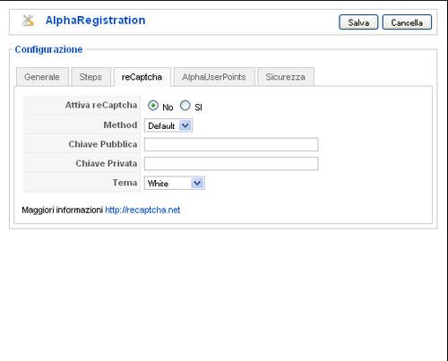 Alpha Registration reCaptcha