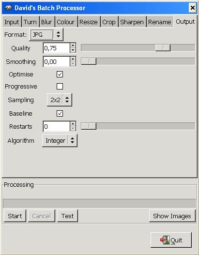 Impostazioni personalizzabili sul formato JPG nella scheda Output