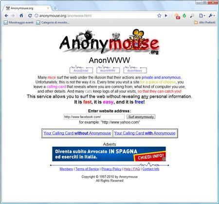 Figura 1: L'Homepage di Anonymouse