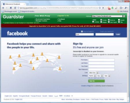 Figura 2: Guardster in azione su Facebook.com