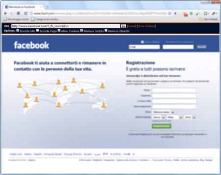 Figura 3: Fsurf in azione su Facebook.com