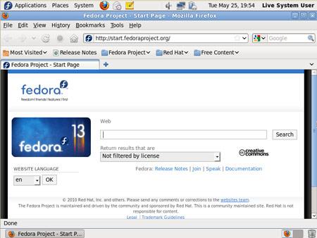Figura 4: Il nuovo Firefox di Fedora 13