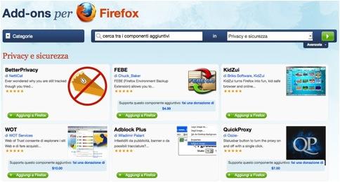 Estensioni sicurezza Firefox