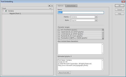 Il pannello incorporamento caratteri di Flash CS5