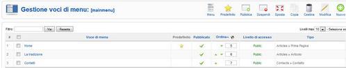 Rokdownloads gestione voci menu