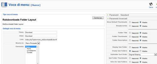 Rokdownloads creazione voce menu
