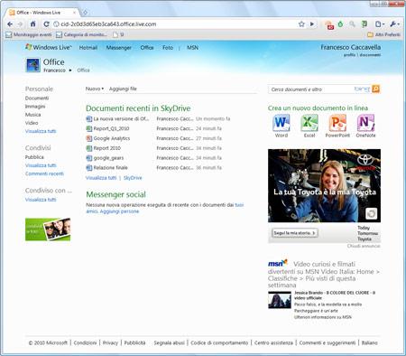 Figura 2: Il pannello di Office Web Apps in Skydrive