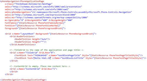 Codice XAML
