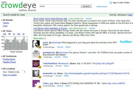 CrowdEye, motore di ricerca in real time