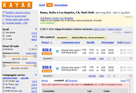 Kayak: ricerca del miglior prezzo per i voli