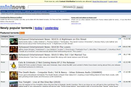 Mininova, file torrent legali