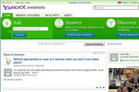 Yahoo Answer, ricerca tra