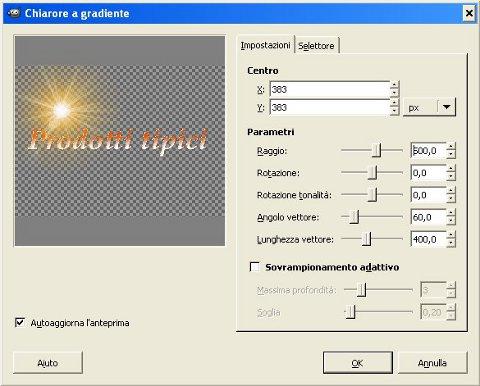immagine finestra-pannello di controllo Distant Sun, prima applicazione