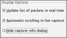 Opzioni visualizzazione Wireshark