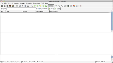 La schermata di Wireshark