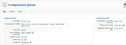 Configurazione globale sito