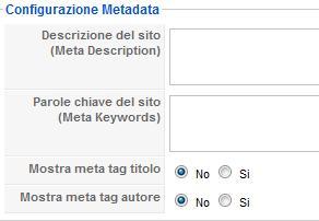 Configurazione metadata