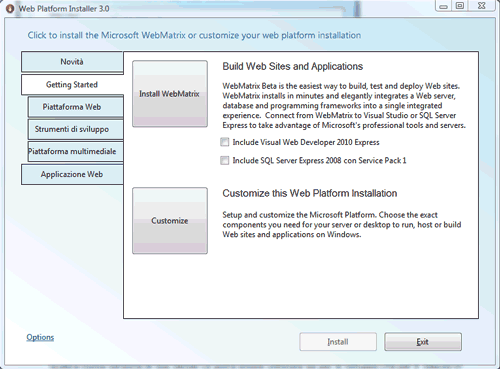 Figura 1: Installare Microsoft WebMatrix con il Web PI 3.0