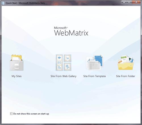 Figura 2: Lo start-up screen di Microsoft WebMatrix Beta