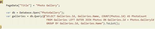 Figura 5: Blocco di codice della pagina index.cshtml
