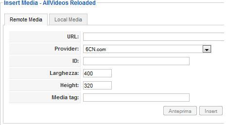 Inseriamo la URL del video