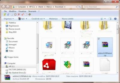 Firefox: Cartella contenente estensione compressa