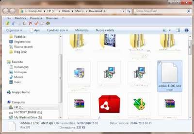 Firefox: Cartella contenente estensione decompressa