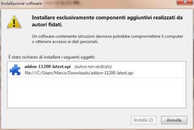 Firefox: Pannello installazione componente aggiuntivo