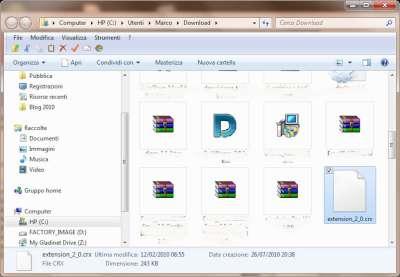 Chrome: Cartella download con estensione decompressa