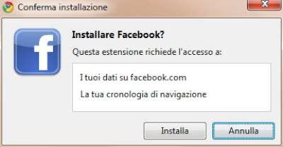 Chrome: Pannello conferma installazione estensione