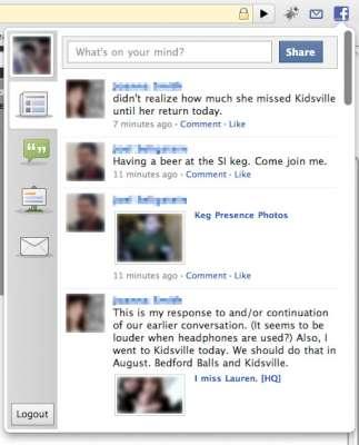 Chrome: Esempio di profilo Facebook gestito dall'estensione