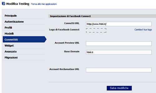 Figura 2: Le impostazione di connessione dell'applicazione Facebook