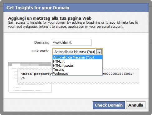 Figura 5: Le impostazioni per Insights sul il tuo dominio